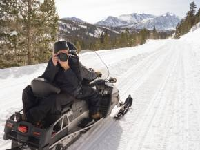 Lifestyle Photography on a Snowmobile Rock Creek Lake