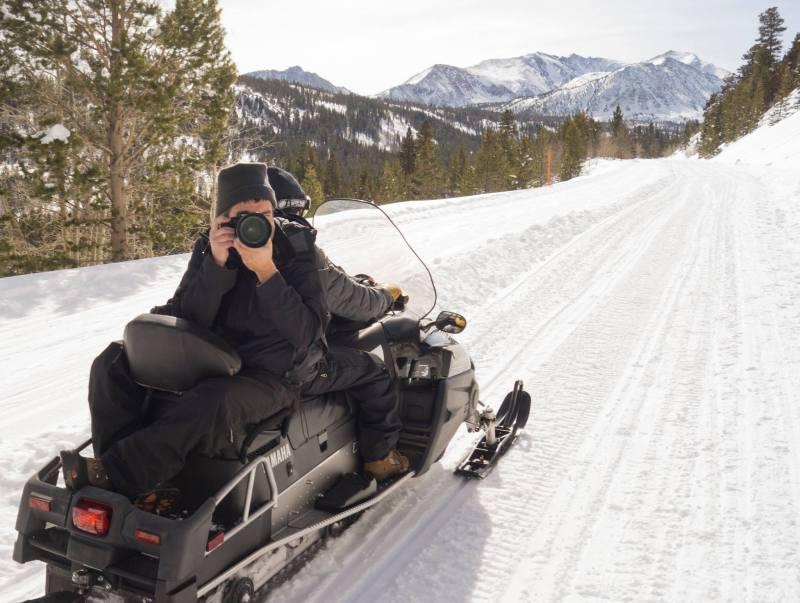 Lifestyle Photography on a Snowmobile Rock Creek Lake