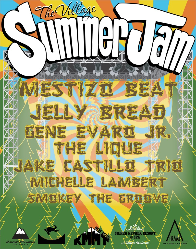 The Village Summer Jam headlining Mestizo Beat, Jelly Bread, Gene Evaro JR., The LIque, Jake Castillio Trio, Michelle Lambert, and Smokey the Grove